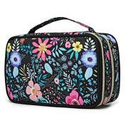 Q-smile Travel Jewelry Case Jewelry Organizer Bag Double Layer Storage Carrying Pouch Holder for Necklaces, Earrings, Bracelets, Rings, Watch and More,Compact and Portable (Balck-Flower, Medium)