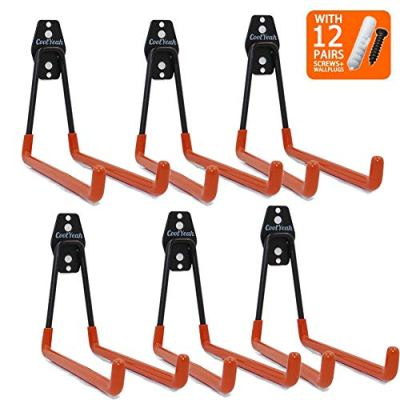 CoolYeah Steel Garage Storage Utility Double Hooks, Heavy Duty for Organizing Ladder Hooks, Long U Hooks (Pack of 6, 6.3 × 7.3 × 6.1 inches)