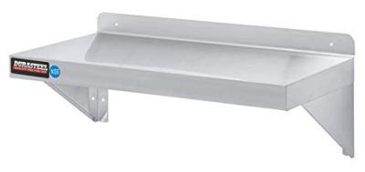 "Stainless Steel Wall Shelf by DuraSteel - 24"" Wide x 12"" Deep Commercial Grade"