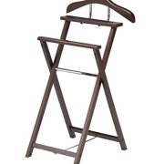 King's Brand Walnut Finish Solid Wood Suit Valet Rack Stand Organizer