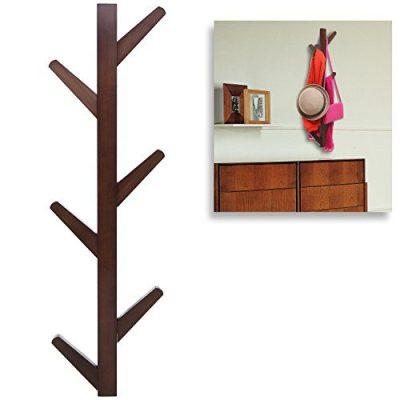 Modern Brown Bamboo Wall Mounted 6 Hook Hanging Storage Organizer