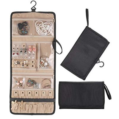 Lenlorry Travel Jewelry Organizer Roll Bag Case, Hanging Jewelry Organizers Holder with Zipper Pocket Compartments for Earrings Bracelets Necklaces Rings Brooches Watches for Women Girl