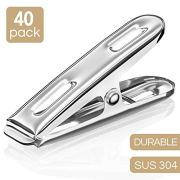 Clothespins Stainless Steel Laundry Clips - 40 Pack Bulk Clothes Pins with Heavy Duty, Metal Durable Clothes Pegs Multi-Purpose for Outdoor Clothesline Home Kitchen Travel Office Decor (Silver)