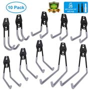 10 Packs Garage Storage Hooks, Wall Hooks Steel Multi-Size Extended Utility Double U-Hook for Heavy Duty Garage Storage Organizing Power Tools, Ladders, Bulk Items, Bikes, Ropes etc.