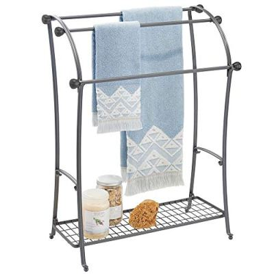 mDesign Large Freestanding Towel Rack Holder with Storage Shelf