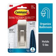 Command Modern Reflections Metal Bath Hook, Large, Satin Nickel