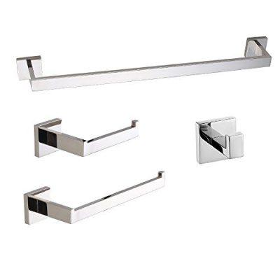 LuckIn 24 Inch 4-Piece Modern Polished Chrome Bathroom Hardware Accessories