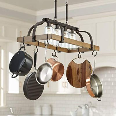 """Eldrige Bronze Wood Pot Rack Linear Pendant Chandelier 36 1/2"""" Wide Rustic Farmhouse Clear Seeed Glass 4-Light Fixture for Kitchen Island Dining Room - Franklin Iron Works"""