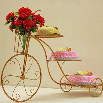 WUPYI 3-Tier Cupcake Stand,Bike Shape Cake Stand Cupcake Stand Metal Cake