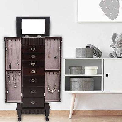 Henf Standing Jewelry Armoire Cabinet,Large Jewelry Armoire Cabinet Standing Storage Chest Neckalce Organizer with 7 Drawers,2 Swing Doors,16 Necklace Hooks,Makeup Mirror (8-Layer 7 Drawers)