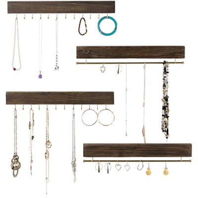 """Large Wall Mounted Jewelry Organizer. 17"""" Inches Wide Rustic Display with Hooks for Hanging Rings, Earrings, Necklace Holder, Bracelet Hanger. Shabby Chic Wood Home Decor (Set of 4 - Dark Brown)"""