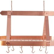 Old Dutch Oval Steel Pot Rack w. Grid & 16 Hooks, Satin Copper