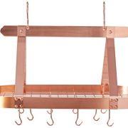 Old Dutch Oval Steel Pot Rack w. Grid & 16 Hooks, Satin Copper