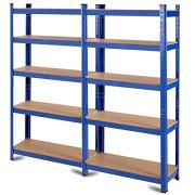 "Tangkula Metal Storage Shelves, 60inches Heavy Duty Frame Organizer, 5-Tier Garage Shelf, Multi-Use Storage Shelving Unit, Storage Rack with Adjustable Shelves (30""L×12""W×60""H) (2)"