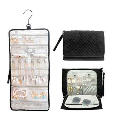 ILOVA Journey Travel Hanging Black Jewelry Organizer Case Foldable Jewelry Roll with Hanger - Rings, Necklaces, Bracelets, Earrings, Sunglass, Unique Gift, Travel Pouch, Storage Bag for Women Wife Mom