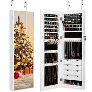 LANGRIA Full Length Mirror Jewelry Cabinet Organizer with 8 LED Lights