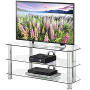 FITUEYES Classic Clear Tempered Glass TV Stand Suit for up to 50 inch