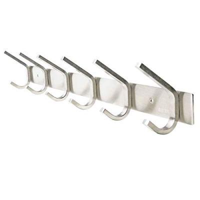 WEBI Heavy Duty SUS Coat Bath Towel Hook Hanger Rail Bar with 6 Hooks