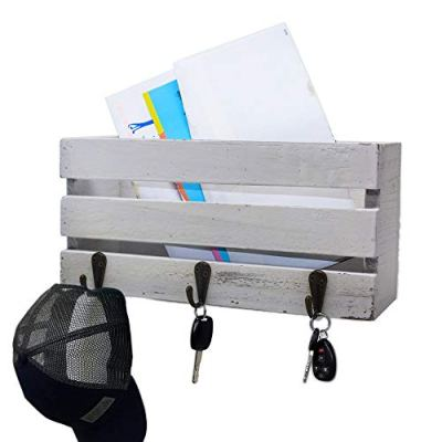 Rustic Wall Mounted Mail Sorter with 3 Key Hooks ~ Coat Hanger, Purse Hanger