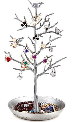 WELL-STRONG Earring Ring Holder Necklace Bird Decoration Jewelry Tower Tree for Girl Silver