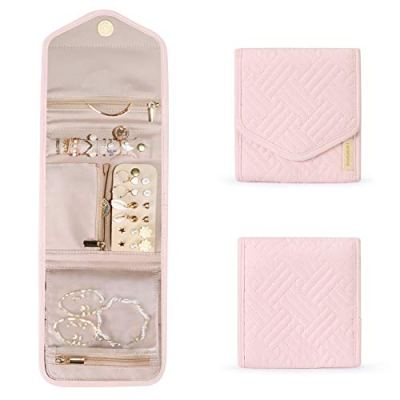 BAGSMART Travel Jewelry Organizer Case Foldable Jewelry Roll for Journey-Rings, Necklaces, Earrings, Bracelets, Light Pink, Mini