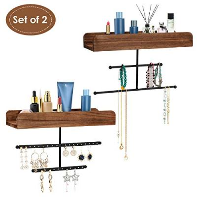 FTLL Hanging Jewelry Organizer Wall Mounted 2 Pack, Rustic Makeup Organizer, Wood Jewelry Holder Display with Shelf for Earrings, Rings, Necklaces, Bracelets and More (Grey) ... (Brown)