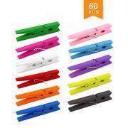 Faxco 60 Pcs 2.8'' Colored Wooden Clothespins, Photo Paper Peg Hang Pins, DIY Photo Clips