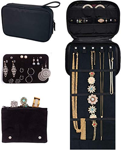 Pink Larus Jewelry Organizer. Tangle-Free Necklace with Roll Out Mat, Earring Card for Studs, Drop and Hoops, and Ring Organizer. Black Compact Case Fits Perfectly in a Carry On!