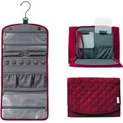 CD Pacific Foldable Hanging Travel Jewelry Organizer Roll for Rings, Necklaces, Bracelets, Earrings Travel Jewelry Case in Burgundy Velvety (Large)