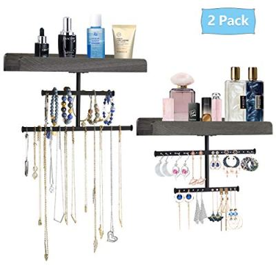 Biewoos Hanging Jewelry Organizer Wall Mounted with Rustic Wood Jewelry Holder Display for Necklaces Bracelet Earrings Ring Set of 2 (Weathered Grey)