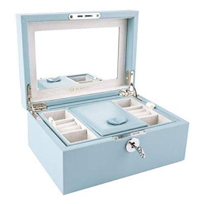 Vlando Two Tray Lockable Jewelry Box, Jewelries Collections Organizer