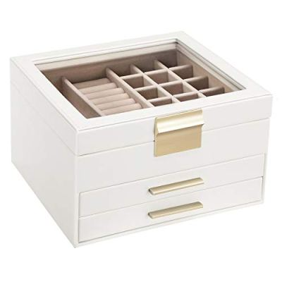 SONGMICS Jewelry Box with Glass Lid, 3-Layer Jewelry Organizer with 2 Drawers