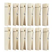 RIVERKING Big Clothes Pins,12 PCS Large Clothes Clips,6 Inch Wooden Giant Clothespins,Wood Natural Jumbo Clothespins for DIY Crafts,Wedding and Bathroom Decoration