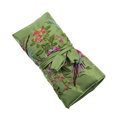 Gracallet Light Green Soft Silk Embroidery Brocade Peony Floral Print Fabric Jewelry Roll Travel Organizer