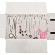 WODISON Travel Velvet Jewelry Roll Earrings Rings Necklaces Organizer Clutch Bag for Necklace