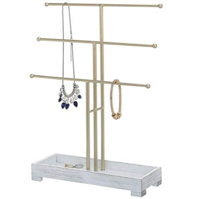 MyGift 3-Tier Gold-Tone Metal Jewelry Display Stand with Vintage White Wood Ring Tray