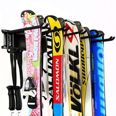 Ultrawall Ski Wall Rack, 5 Pairs of Snowboard Rack Wall Mount