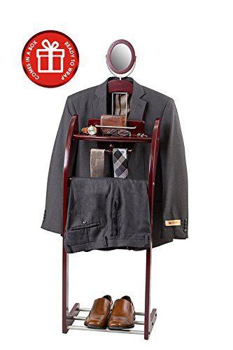 ClosetMate Executive Clothes Valet Stand - Beautiful Solid Hardwood Valet Clothing