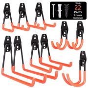 BRIGENIUS Garage Hooks, 10-Pack Steel Garage Storage Hooks Utility