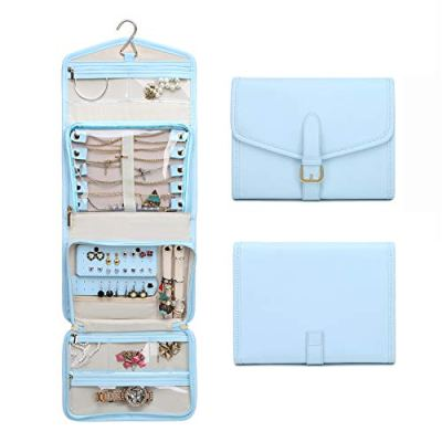 ESTARER Travel Jewelry Organizer Roll,Jewelry Storage Bag for Rings,Bracelets,Brooches,Earrings,Necklaces,Blue