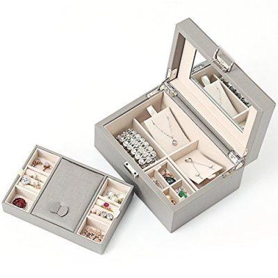Vlando Wooden Jewelry Box, Jewelry Organizer and Storage- Grey