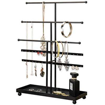 MyGift 5 T-Bar Modern Black Metal Jewelry Organizer for Bracelets, Necklaces and Earrings with Ring Tray