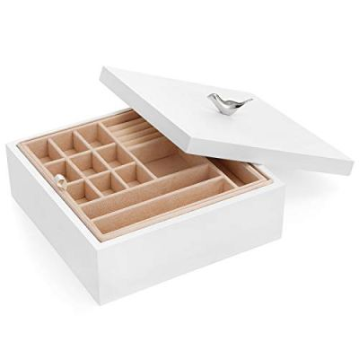 SONGMICS Wooden Jewelry Box, 2-Layer Jewelry Organizer with Removable Tray, Valentine Gift for Loved Ones, White UJOW11WT