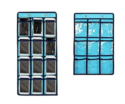 NIMES Hanging Closet Underwear Sock Storage Over The Door Jewelry Organizer Clear Pockets (BLUE-12 & 9 Pockets Pack)