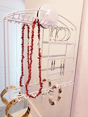 Jewelry organizer earring necklace bracelet holder hanging wall mount mirror storage (white)