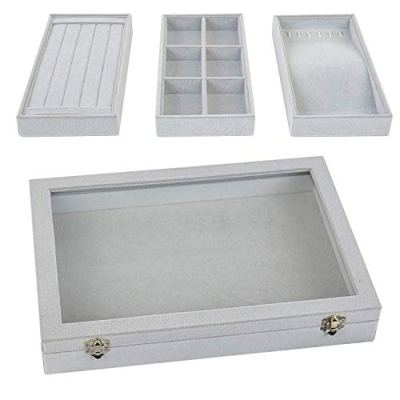 VIEFIN Stackable Jewelry Tray with Lid, Velvet Earring Drawer Insert Display Show Case, Dresser Organizer for Ring Stud, Necklace Holder Storage Box Chest,Grey 4 in 1(with lid)