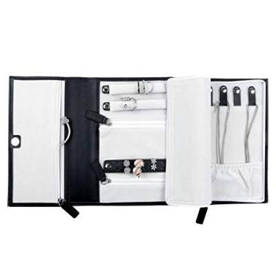 "ONLVAN Leather Travel Jewelry Case Roll Bag Soft Travel Jewelry Organizer Storage for Necklace, Earrings, Rings, Bracelet (Triple Fold 8.26""×6.29""×1.18""/ Black)"