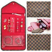Nobix Travel Jewelry Organizer Roll Foldable Jewelry Case for Journey - Rings, Necklaces, Bracelets, Earrings (Brown)