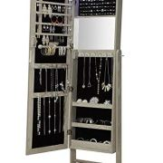 Abington Lane Standing Jewelry Armoire - Lockable Cabinet Organizer with Full Length Mirror and LED Lights - (Heathered Wood Finish)
