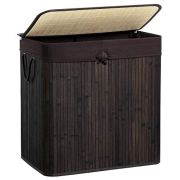 SONGMICS Large Laundry Hamper with Lid, Two-Section Bamboo Laundry Basket Sorter, 40 Gal (151L) with Liner and Handles, Rectangular, Brown ULCB65BR